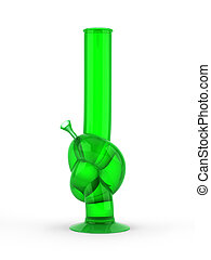 Green knot bong isolated on white background