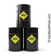 barril, pirámide, negro, tres, aceite