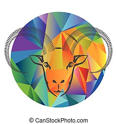goat head - colorful illustration with goat head on a...