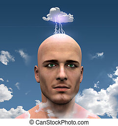 Man with Head in clouds