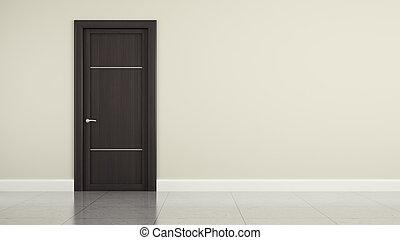 Wall with wooden door 3D