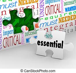 esencial, rompecabezas, pedazo, llena, agujero, necesario,...