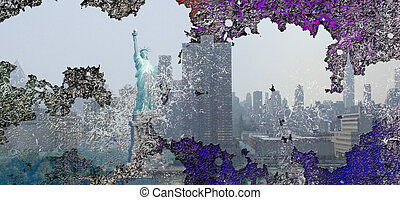 NYC Art - New York City USA Abstract Landscape