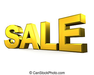 Gold sale word on white background 3D