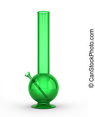 Green bong isolated on white background 3D