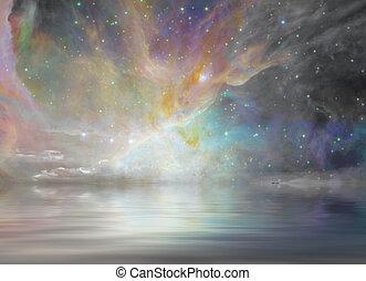 静寂, 水, そして, 星が多い, 空,