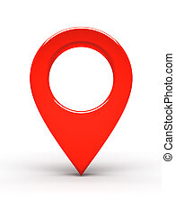 Red place marker on white background 3d