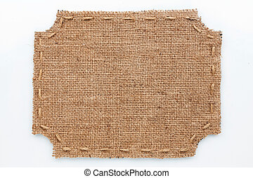 Frame of burlap, lies on a white background, can be used as...