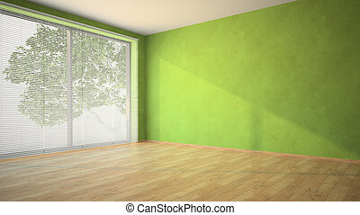 Empty room with green walls and louvers