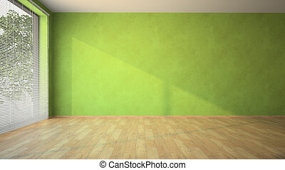 Empty room with green walls and parquet