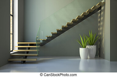 Empty room with staircase and plants 3D rendering