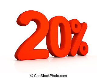 twenty percent simbol on white background 3D