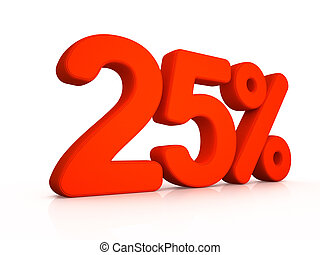 twenty five percent simbol on white background 3D