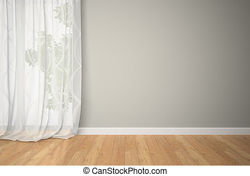 Empty room with curtains 3d