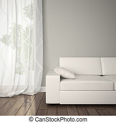 parte, de, Interior, com, sofá,