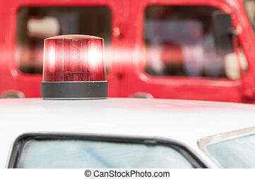 intermitente, vermelho, sirena, luz, ligado, telhado, de,...