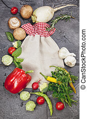 Vegetables and spices - Cooking concept with seasonal...