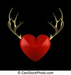 Red heart with gold antlers on a black background 3D