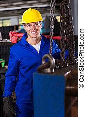 macho, industrial, reparador, en, taller,