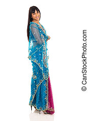 indian woman in traditional clothing - side view of indian...