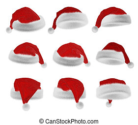 Santa Claus red hat collection - Fluffy Santa Claus red hat...