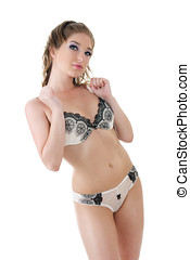 Beautiful woman in lingerie isolated over white background