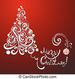white lace christmas tree on red background