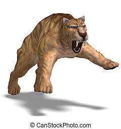 Dinosaur Smilodon - saber-toothed tiger. 3D render with...