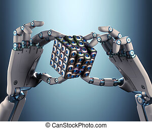 Binary Cube Logical Processing - Robot hand holding a binary...