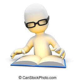 3d Little man reading a book