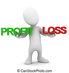 3d Little compares profit and loss - 3d render of a little...