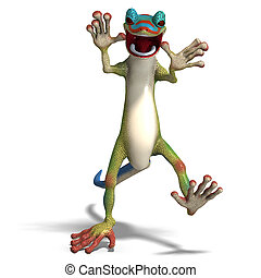 funny toon gecko. 3D render with clipping path and shadow...
