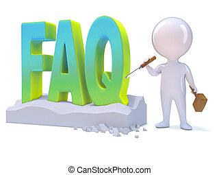 3d Little man carves the word FAQ - 3d render of a little...