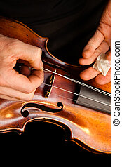 Violin repairs - A violinmaker making repairs on a violin in...