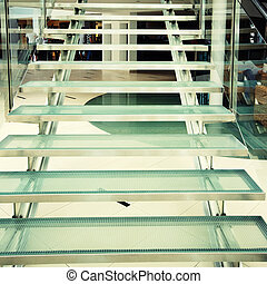 Modern glass staircase