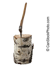 Photo of axe in the birch stump on white background