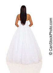 back view of woman in wedding dress