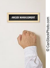 Anger management specialist - Male hand knocking on the door...