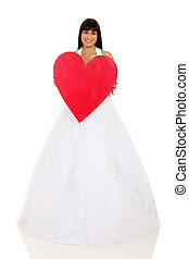 indian bride holding red heart