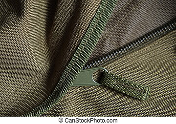 Tactical holdall army bag zipper - Detail of a tactical...