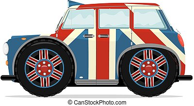 Taxi - Cartoon London taxi in the colors of British flag