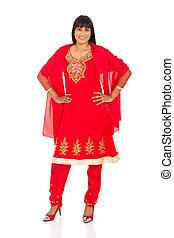 indian woman wearing red sari