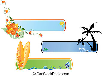 beach banner - there is surf banners with palm treesand...