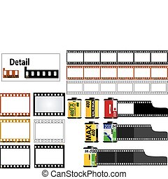 35mm slide film frames - 6 frame of 35mm film strip in color...