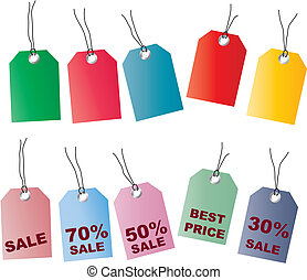 price tags - Two sets of tags with regular colors and pastel...