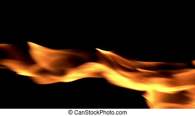 Thin Jet of Flame - The jet of gas flame on a black...