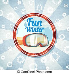 Badge with snowboarders or skiers goggles, -Fun Winter-...