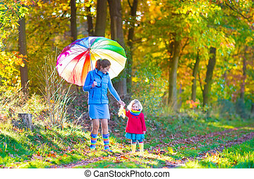 Mother and daughter in a park - Happy young mother and her...