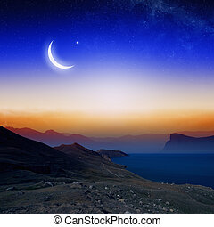 Moon, stars and moutains - Islamic background with moon and...