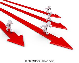 Businessmen running on their own path